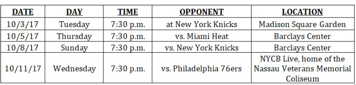 Brooklyn Nets 2017 18 Preseason Schedule