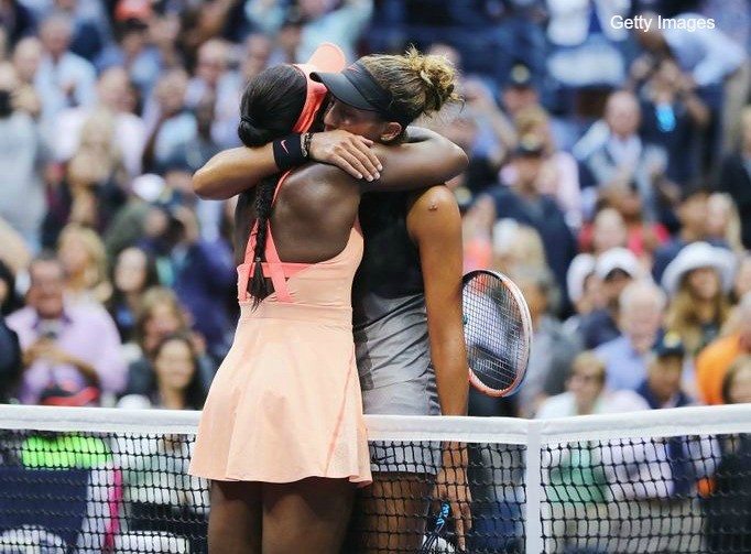 Sloane Stephens hugs her friend and competitor Madison Keys after beating Keys to win 2017 US OPEN Photo Credit Getty Images 682x503