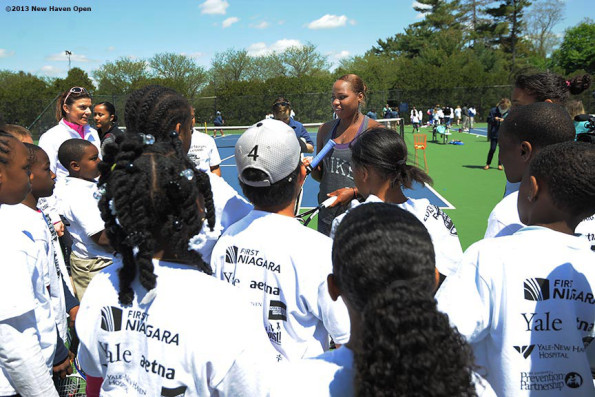 Taylor Townsend with kids before 2013 New Haven Open Yale University