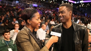 Comedian Chris Rock chatting with What's The 411SPORTS correspondent, Crystal Lynn, prior to a Brooklyn Nets game