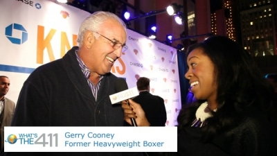 Former professional heavyweight boxer Gerry Cooney talking with What's The 411TV correspondent Bianca Peart on Chase Blue Carpet at Madison Square Garden
