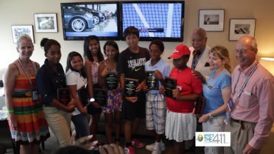 Mayor David Dinkins and the Arthur Ashe Kids Day 2012 Essay Contest winners