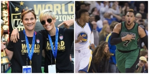 Photo left to right: US Women National Soccer Team players celebrate World Cup win with parade in NYC. Celtic's Jared Sullinger celebrates 109-106 win over Golden State Warriors