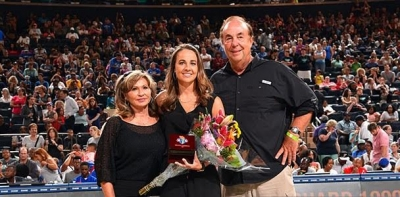 San Antonio Spurs Assistant Coach and former New York Liberty guard, Becky Hammon (center), inducted into the New York Liberty Ring of Honor