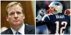 Photo left to right: NFL Commissioner Roger Goodell; and New England Patriots quarterback, Tom Brady