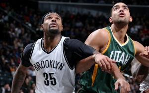 Trevor Booker, Brooklyn Nets forward boxing out Utah Jazz player