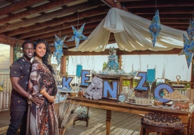Actor/comeidan Kevin Hart and his wife Eniko at her baby shower