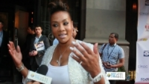 Actress Vivica A. Fox on the red carpet talking with What's The 411 Correspondent, Crystal Lynn at New York Giants' Justin Tuck's charity event