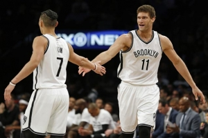 Brook Lopez and Jeremy Lin led the Nets in a 91-82 win over the Atlanta Hawks on Sunday, April 2, 2017, at the Barclays Center.