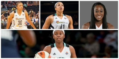 Photo from left to right and bottom: New York Liberty players: Tanisha Wright, Kiah Stokes, Tina Charles and Sugar Rodgers