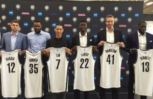 Brooklyn Nets introduce at press conference left to right: Joe Harris, Trevor Booker, Jeremy Lin, CarisLeVert, Justin Hamilton and Anthony Bennett