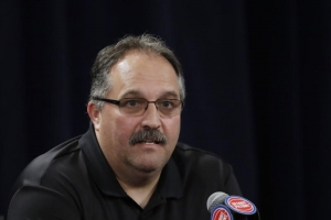 Stan Van Gundy, the Detroit Pistons head coach, speaking to the media