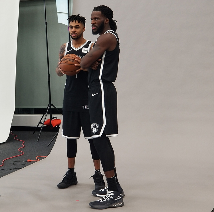 Two new Brooklyn Nets players D'Angelo Russell (left) and DeMarre Carroll