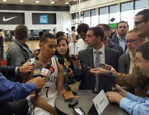 Brooklyn Nets guard Jeremy Lin holding court at Brooklyn Nets Media Day 2016