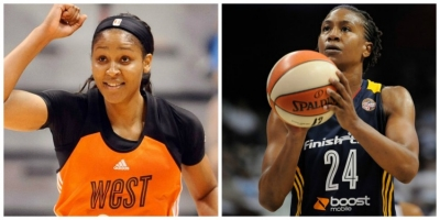 Photo left to right: Minnesota Lynx forward Maya Moore is 2015 WNBA All-Star MVP and holder of most points scored in a single WNBA All-Star game; and Indiana Fever forward Tamika Catchings, holds record of WNBA All-Star appearances with 10; and Catchings is the all-time WNBA All-Star Game cumulative leading scorer with 104 points