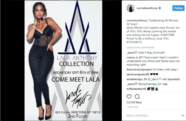 Carmelo Anthony Instagram post of the launch of LaLa Anthonys new denim line at Lord and Taylor 613x400