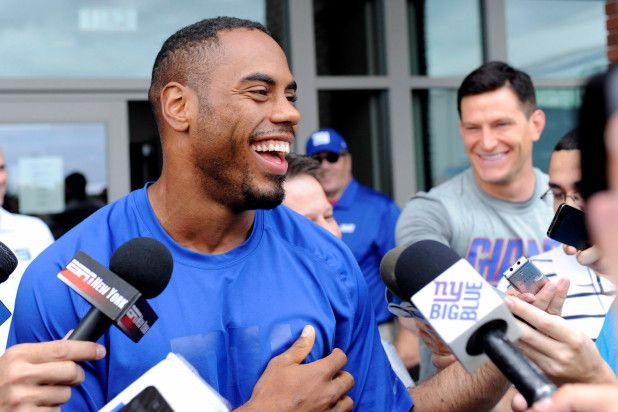Rashad Jennings talking with media photo credit unknown