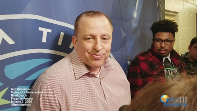 Minnesota Timberwolves head coach and team president, Tom Thibodeau, talking with the media prior to playing the Brooklyn Nets at the Barclays Center in Brooklyn, NY