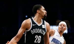 Photo  Spencer Dinwiddie, Brooklyn Nets guard, hits a milestone in Nets losing effort against the Orlando Magic. Nets lose to Magic 115-113.