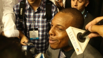Paul Pierce, Brooklyn Nets shooting guard, talking with the media