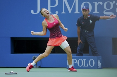 Romanian professional tennis player Simona Halep celebrates reaching US Open 2015 Semifinals