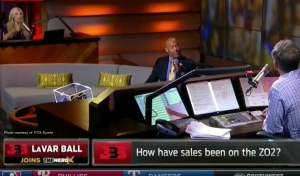 Colin Cowherd interviewing LaVar Ball (center) with Kristine Leahy in the background