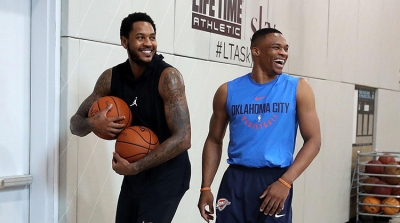 Oklahoma City Thunder players Carmelo Anthony and Russell Westbrook