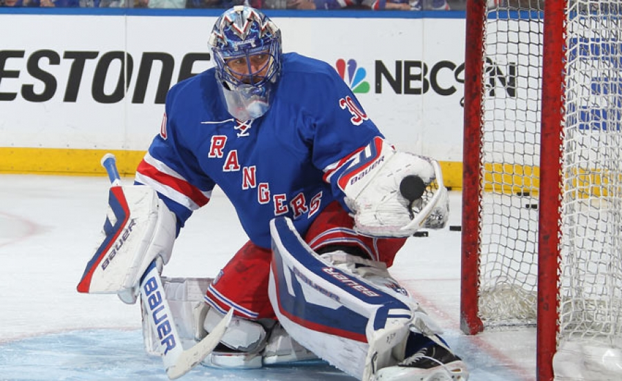 New York Rangers goalie Henrik Lundqvist saves the day.