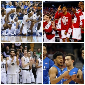 Clockwise from top left: Kentucky Wildcats; Wisconsin Badgers; Duke Blue Devils; and the Michigan State Spartans