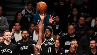 Kyrie Irving scores 50 points in Brooklyn Nets home opener on Wednesday, October 23, 2019. The Nets lost to the Minnesota Timberwolves 127-126