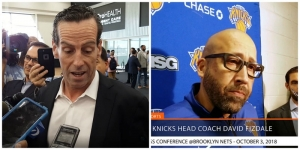 Brooklyn Nets head coach Kenny Atkinson (l) and New York Knicks head coach David Fizdale.