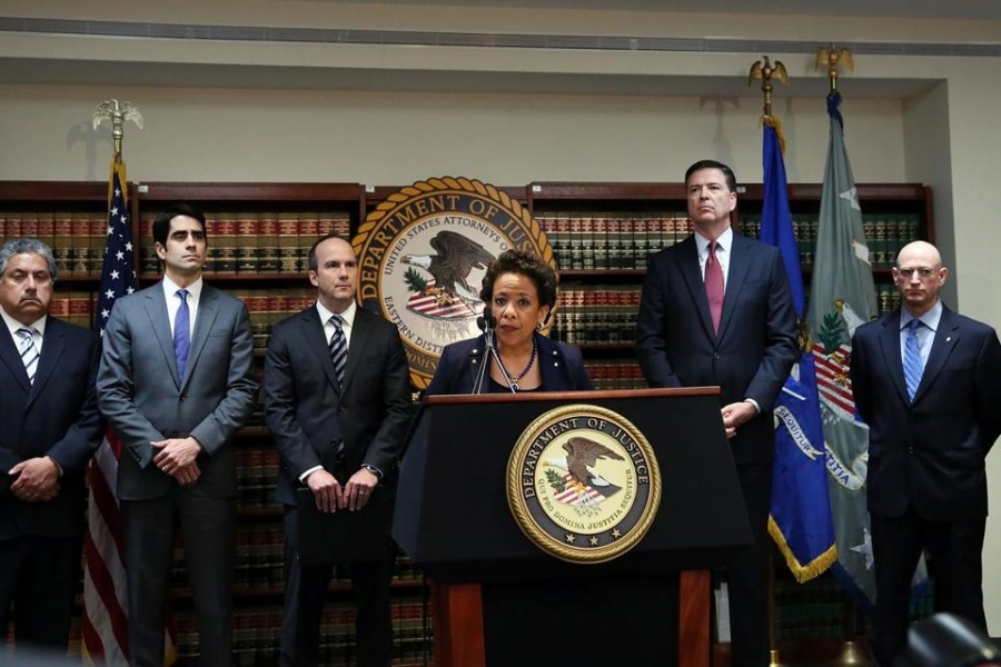 U.S. Attorney General, Loretta Lynch, speaks at press conference regarding FIFA corruption charges
