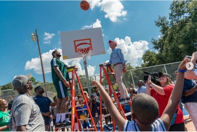 DeMarcus Cousins, center, Golden State Warriors, has not forgotten his hometown; he donated $253,000 to refurbish basketball court in his hometown of Mobile, Alabama