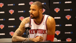 New York Knicks Center Tyson Chandler addressing the media