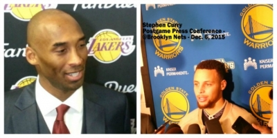 Los Angeles Lakers retiring shooting guard Kobe Bryant (l) and Golden State Warriors guard Stephen Curry