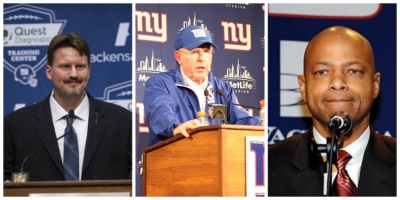 Photo left to right: Ben McAdoo, NY Giants new head coach; Tom Coughlin; former NY Giants Head Coach; and Jerry Reese, NY Giants General Manager