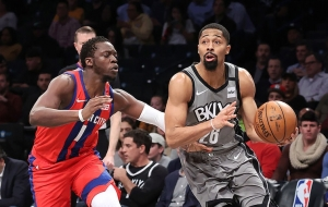 Brooklyn Nets guard, Spencer Dinwiddie (right), defending ball against Detroit Pistons guard, Reggie Jackson. Dinwiddie led all scorers with 28 points in a game against the Detroit Pistons at the Barclays Center on January 29, 2020. The Brooklyn Nets won 125-115.