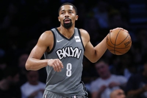 Spencer Dinwiddie led all Brooklyn Nets scorers with 25 points in their loss to the New York Knicks on December 26, 2019, at the Barclays Center in Brooklyn, NY.