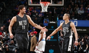 Brooklyn Nets center Brook Lopez and guard Jeremy Lin acknowledging their win over the New York Knicks on Sunday, March 12, 2017.