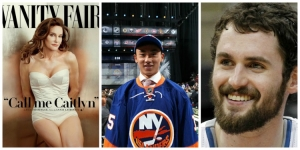 What's The 411Sports Episode 37 Photos left to right: ESPN's selection of Caitlyn Jenner to receive the Arthur Ashe Award, Andong Song becomes first Chinese-born player drafted by New York Islanders; Kevin Love opts out of Clevaland Cavaliers contract and lots more