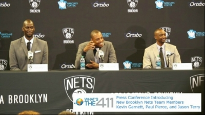 Brooklyn Nets introduce Kevin Garnett, Paul Pierce, and Jason Terry to New York media