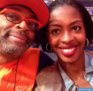 Spike Lee and Crystal L. Harris Pose for Selfie Before Brooklyn Nets Game