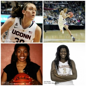 Photos clockwise from top left: Breanna Stewart, drafted by the Seattle Storm; Moriah Jefferson, drafted by the San Antonio Stars; Morgan Tuck, drafted by the Connecticut Sun; and Adut Bulgat drafted by the New York Liberty