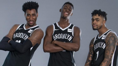 Brooklyn Nets players (l to r): Rondae Hollis-Jefferson, Caris LeVert, and D'Angelo Russell having a good time on NBA Media Day