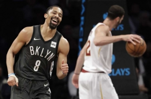 Brooklyn Nets guard Spencer Dinwiddie (l) leads his team in 113-107 victory over the Cleveland Cavaliers on March 6, 2019, at the Barclays Center