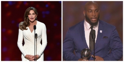 Photo left to right: Caitlyn Jenner and Devon Still give inspirational speeches at 2015 ESPY Awards