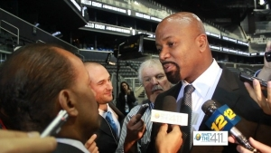 Billy King, Brooklyn Nets general manager, talking with the media.
