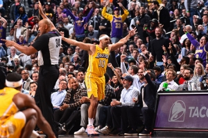 Los Angeles Lakers forward Jared Dudley celebrating after hitting a three-point shot against his former team, the Brooklyn Nets, at the Barclays Center in Brooklyn, NY, on January 23, 2020. The Los Angeles Lakers defeated the Brooklyn Nets 128-113.