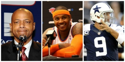 Photo (from left to right): NY Giants general manager Jerry Reese, New York Knicks forward Carmelo Anthony, and Dallas Cowboys quarterback Tony Romo
