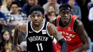 Kyrie Irving led all scorers with 19 points in the loss to the Toronto Raptors on Friday, October 18, 2019, at the Barclays Center in Brooklyn.